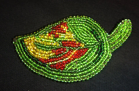 Autumn brooch, Autumn leaf, Handmade embroidery Brooch Beaded leather basis, brooch Autumn