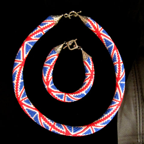 British flag Beaded crochet necklace rope and bracelet set. British flag necklace beads rope. Beaded harness necklace rope and bracelet.