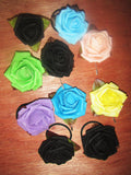 Scrunchy Rose, pin Rose, Scrunchy flower, pin flower, different colors.  Hair Accessories, Elastics, Brooch