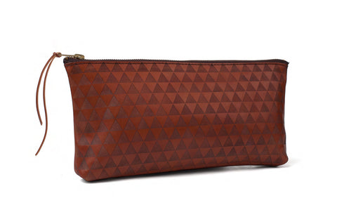 triangle clutch - brown