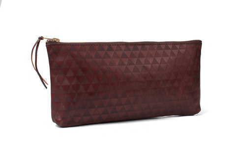 triangle clutch - dark brown
