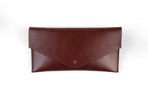 zigzag clutch - dark brown