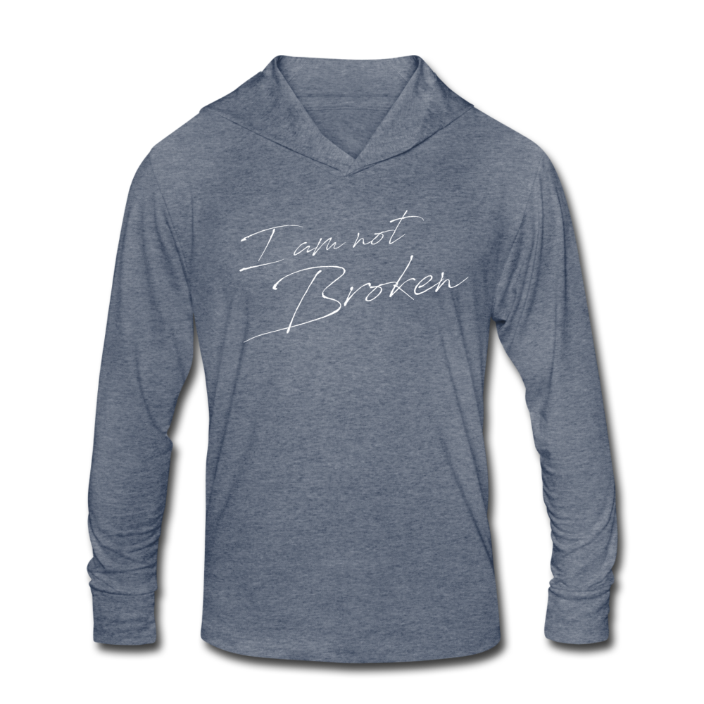 The Eva Collection - I am not Broken Hooded T-shirt - heather blue