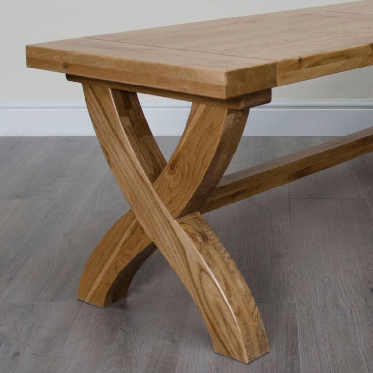 Elegance Cross Leg Large Bench Available In Natural Oak Or Painted Finish