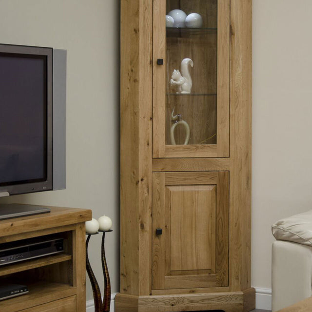 Elegance Oak Corner Display Unit