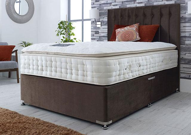 Majestic 6000 Pocket Sprung Natural Pillow Top Divan Bed Medium Support 30cm Deep Mattress