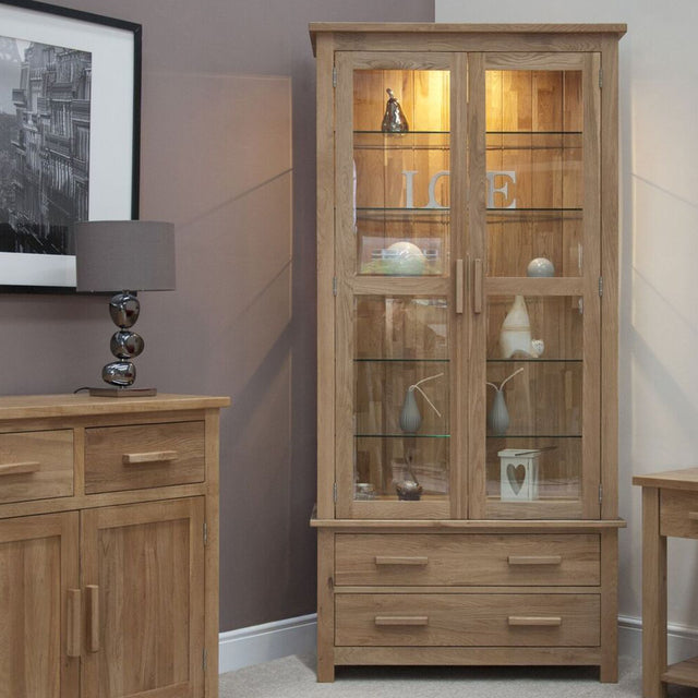Florence Oak Glazed Display Cabinet