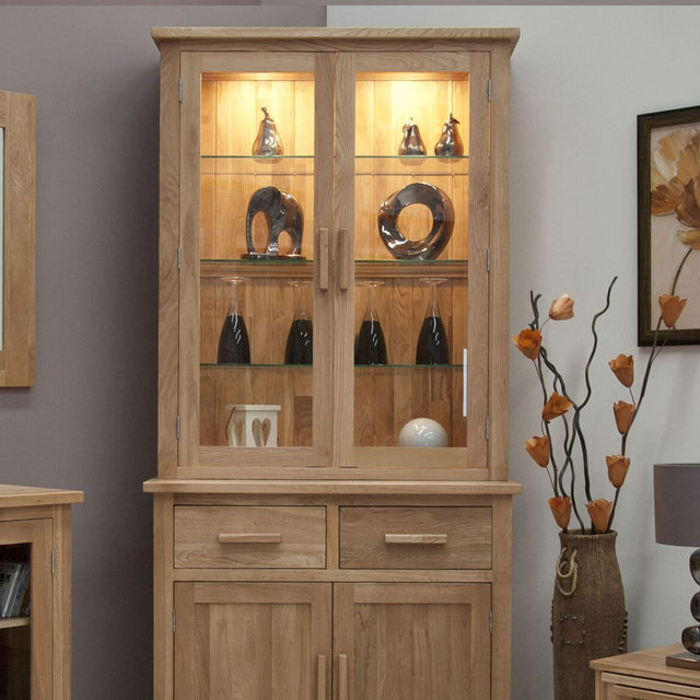 Florence Oak Small Glazed Dresser