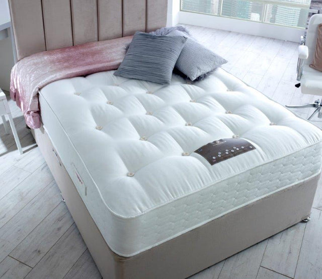 EMPEROR NATURAL 2000 NATURAL DIVAN BED 26CM MEDIUM SUPPORT MATTRESS