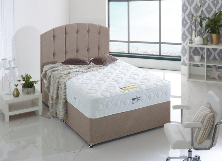 HEALTH THERAPY JEWEL 2000 POCKET SPRINGS AND LAYGEL MEMORY FOAM DIVAN BED 26CM DEEP MATTRESS FIRM
