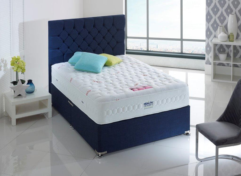 HEALTH THERAPY ORTHOPAEDIC PLATINUM 1000 POCKET SPRINGS AND TANALAY LATEX DIVAN BED 26CM DEEP MEDIUM FIRM