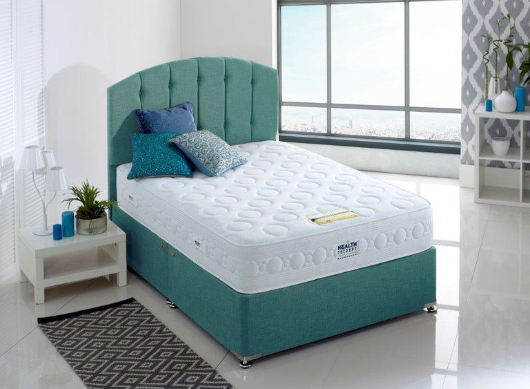 HEALTH THERAPY ORTHOPAEDIC TITANIUM 1000 POCKET SPRINGS AND MEMORY LAYGEL FOAM DIVAN BED 26CM DEEP MEDIUM FIRM MATTRESS