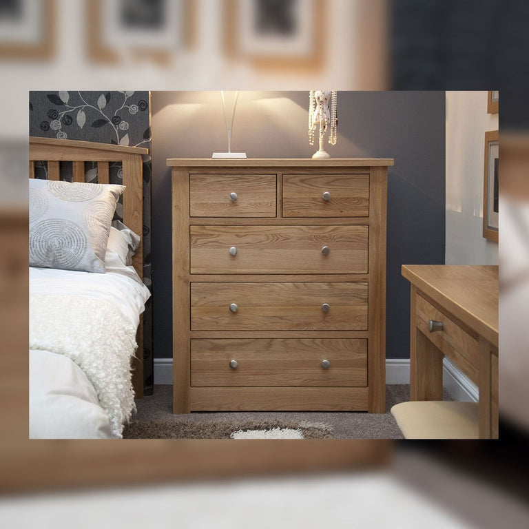 Valencia Deluxe Oak 2 Over 3 Chest Of Drawers