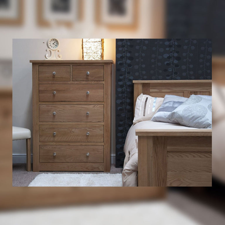 Valencia Deluxe Oak 2 Over 4 Chest Of Drawers