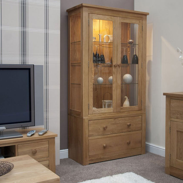 Valencia Deluxe Oak Glass Display Cabinet