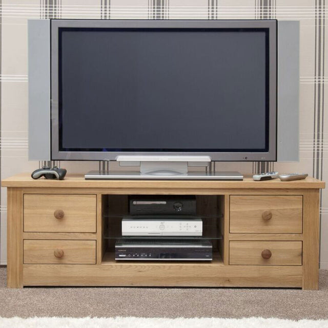 Valencia Deluxe Solid Oak Large Plasma TV Unit