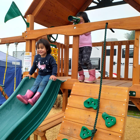 Fun at Fieldays on our wooden playset - The Morepork