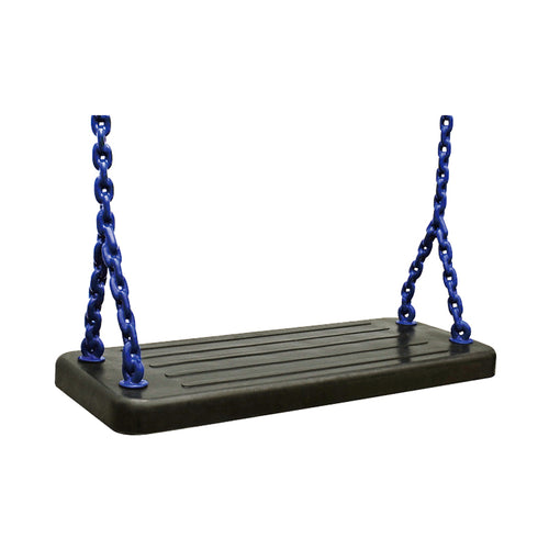 Rubber solid seat with green coated playground chain