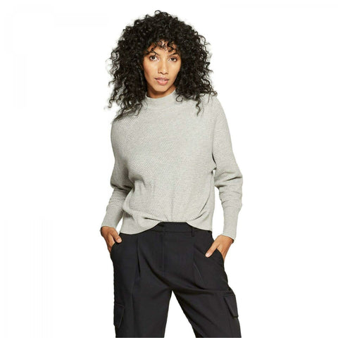 Prologue Women's Cotton Wool Blend Long Sleeve Textured Pullover Sweater