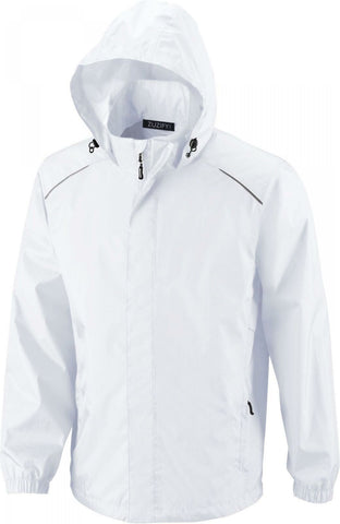 ZUZIFY Men's Seam-Sealed Waterproof Hooded Raincoat Rain Jacket White XL
