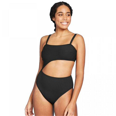 Shade & Shore Women's Ribbed Cut Out One Piece Swimsuit