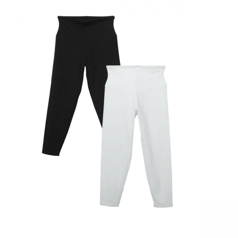 Yummie Women's Plus Size 2 Pack Skimmer Leggings Black/ White 1X