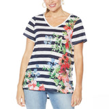 DG2 by Diane Gilman Women's Burnout Printed And Embellished Top