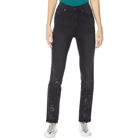 DG2 by Diane Gilman Women's Classic Stretch Artwork Printed Jeans