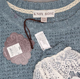 Knox Rose Women's Long Sleeve Lace Twofer Sweater