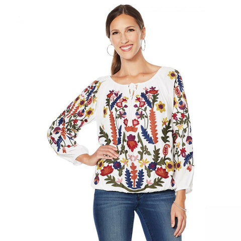 Colleen Lopez Women's Plus Size Embroidered Peasant Blouse