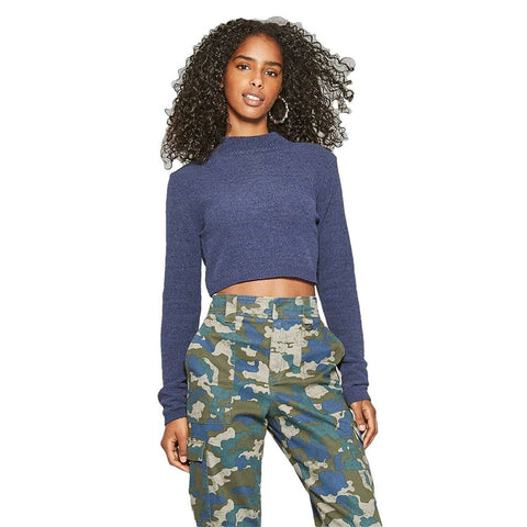 Wild Fable Women's Cropped Mock Neck Pullover Chenille Sweater