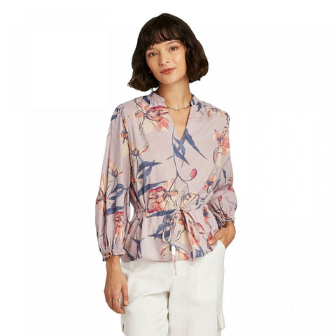 A New Day Women's Floral Print 3/4 Sleeve Tie Waist Blouse