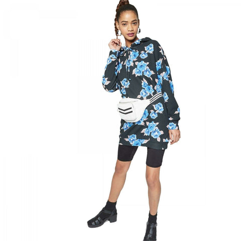 Wild Fable Women's Long Sleeve Floral Hooded Sweatshirt Dress