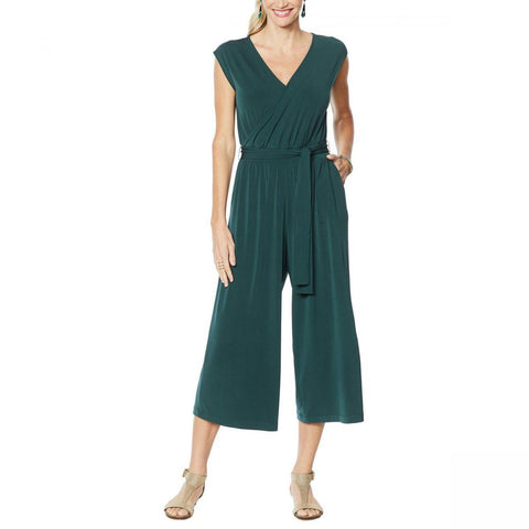 G by Giuliana Women's Petite Cropped Knit Jumpsuit