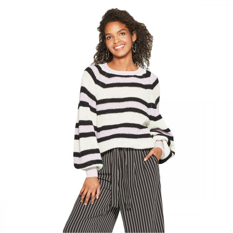 Who What Wear Women's Striped Long Sleeve Cozy Crew Neck Sweater