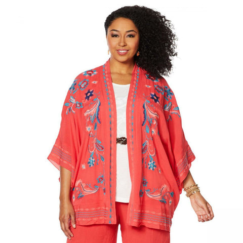 Curations Women's Plus Size Embroidered Gauze Kimono