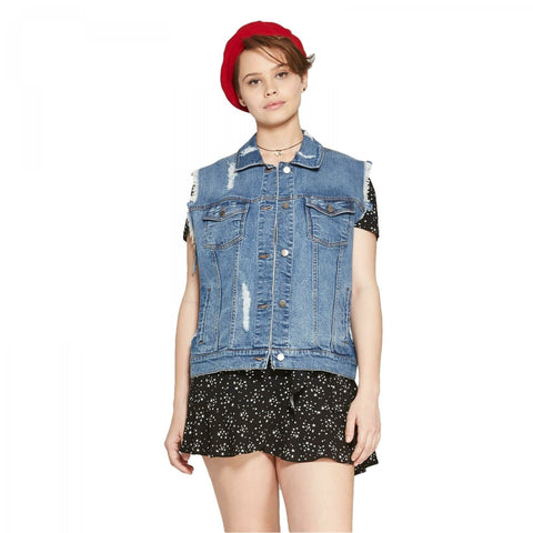 Wild Fable Women's Medium Wash Destructed Denim Vest