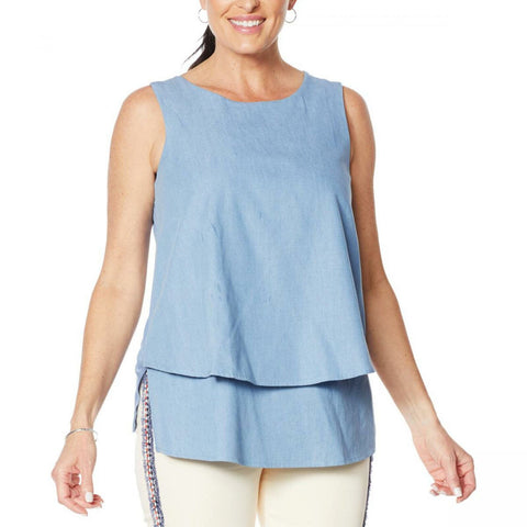 DG2 by Diane Gilman Women's SoftCell Chambray Easy Tank Top