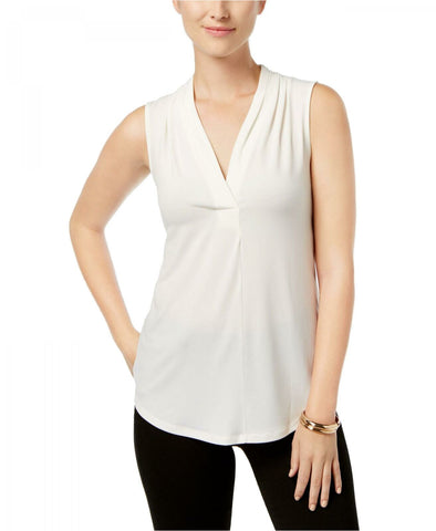 Charter Club Women's Sleeveless Surplice Pleated V-Neck Top. 100005260M