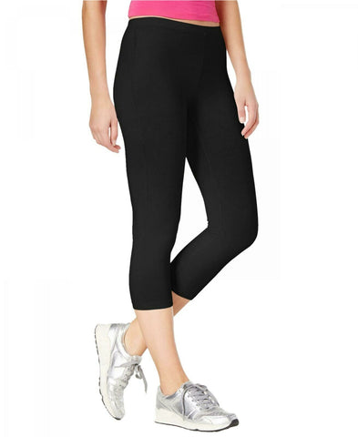 HUE Women's Cotton Capri Leggings Pants. U17981 Black Medium