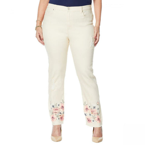 DG2 by Diane Gilman Women's Tall Classic Stretch Floral Fray Hem Ankle Jeans