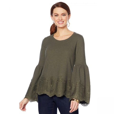 MOTTO Women's Plus Size Crochet Lace Bell Sleeve Top