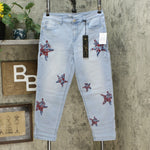 DG2 by Diane Gilman Women's Petite Virtual Stretch Embroidered Star Jeans