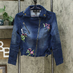 Colleen Lopez Women's Embroidered Denim Moto Jacket Indigo XS