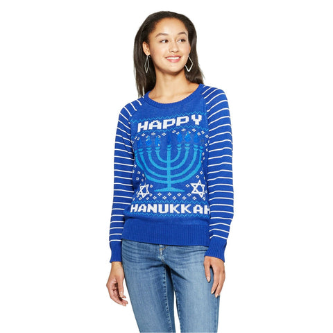 Well Worn Women's Happy Hanukkah Reversible Sequin Ugly Sweater