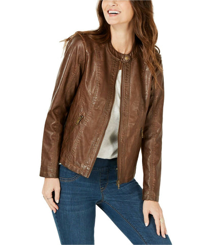 Style & Co. Women's Perforated Garment-Dyed Faux-Leather Jacket. 100047633
