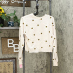 Mighty Fine Women's Embroidered Daisy Cropped Sweatshirt