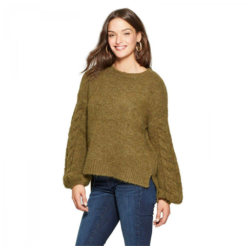 Universal Thread Women's Cable Sleeve Pullover Sweater