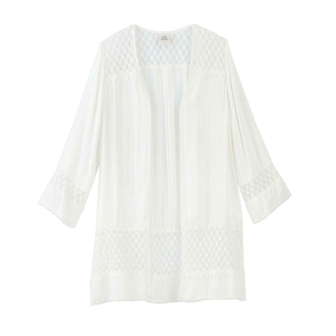 Knox Rose Women's Long Sleeve Solid Lace Detail Kimono Jacket