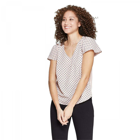 A New Day Women's Easy Fit Woven to Knit Short Sleeve V-Neck Top